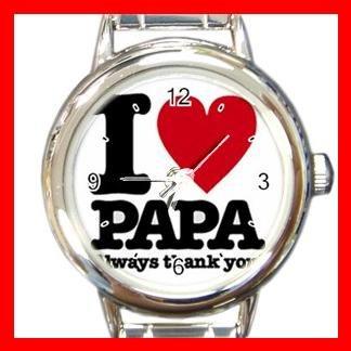 I Love Papa Round Italian Charm Wrist Watch 168