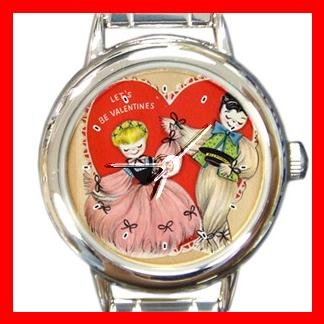 Let's Be Valentines Round Italian Charm Wrist Watch 170