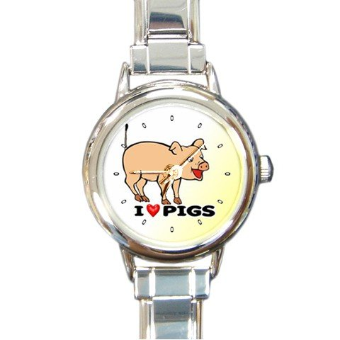 I Love Pigs Round Italian Charm Wrist Watch 180