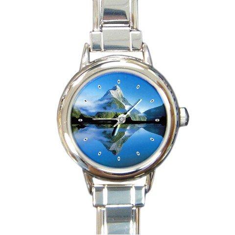 Nature Lake Mountain Snow Round Italian Charm Wrist Watch 183