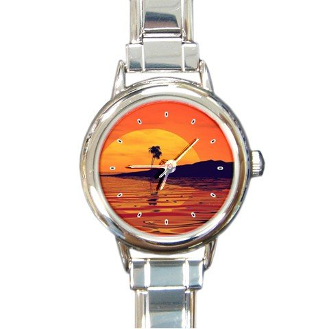Nature Sea Beach Round Italian Charm Wrist Watch 184