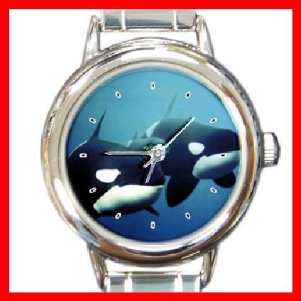 Killer Whales Round Italian Charm Wrist Watch 204