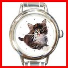 Cute Cat Kitty Round Italian Charm Wrist Watch 209