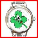 Four Leaf Clover Lucky Round Italian Charm Wrist Watch 210