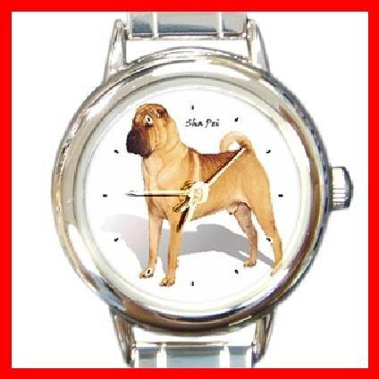 Shar Pei Dog Pet Animal Round Italian Charm Wrist Watch 211