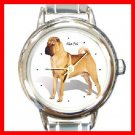 Shar Pei Dog Pet Animal Round Italian Charm Wrist Watch 211