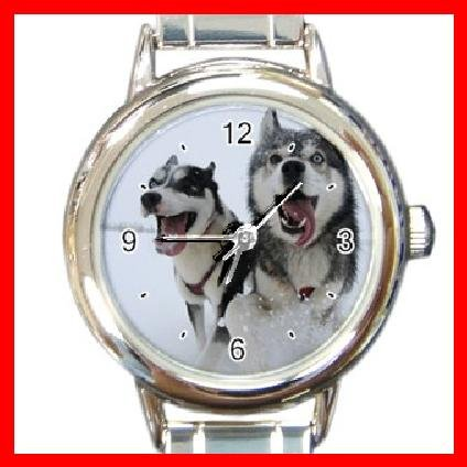 SIBERIAN HUSKY Dog Animal Round Italian Charm Wrist Watch 212