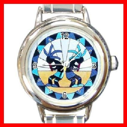 Kokopelli Kokopele Love Round Italian Charm Wrist Watch 214