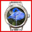 Rare Blue Flamingo Bird Round Italian Charm Wrist Watch 216