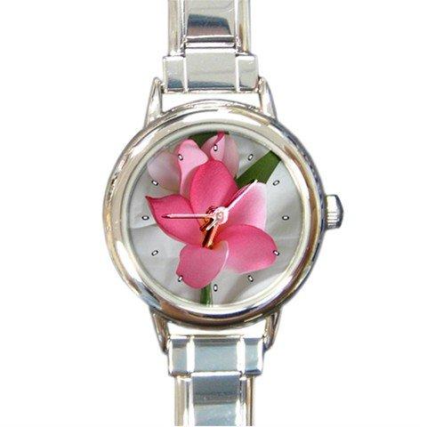 Pink Frangipani Flower Round Italian Charm Wrist Watch 221