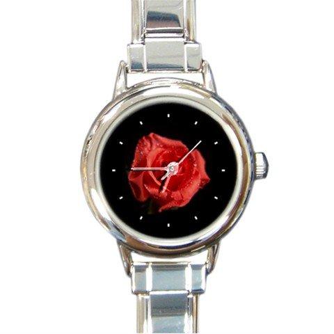 RED ROSE FLOWER BOTANIC NATURE Round Italian Charm Wrist Watch 224