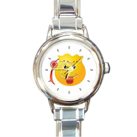 Yellow SMILEY HAPPY FACE Round Italian Charm Wrist Watch 225