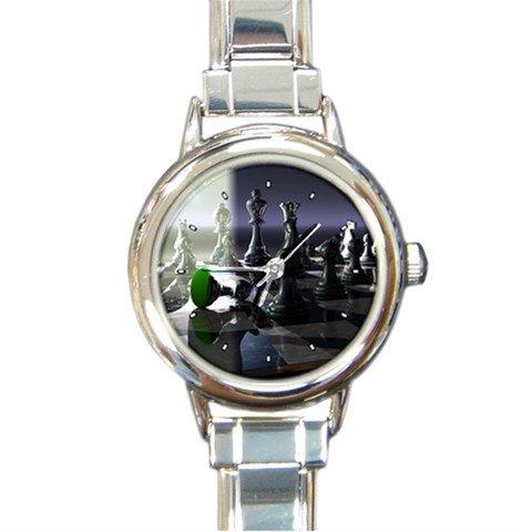 Chess Board Game Round Italian Charm Wrist Watch 230