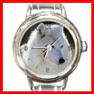 White Arctic Wolf Canada Animal Round Italian Charm Wrist Watch 233