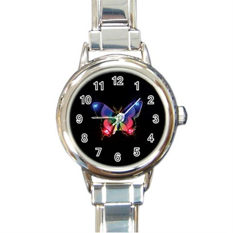 Stunning Light Up Butterfly Fly Round Italian Charm Wrist Watch 236