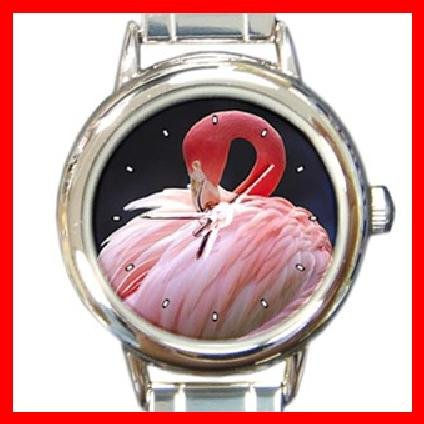 PINK FLAMINGO Bird Round Italian Charm Wrist Watch 240