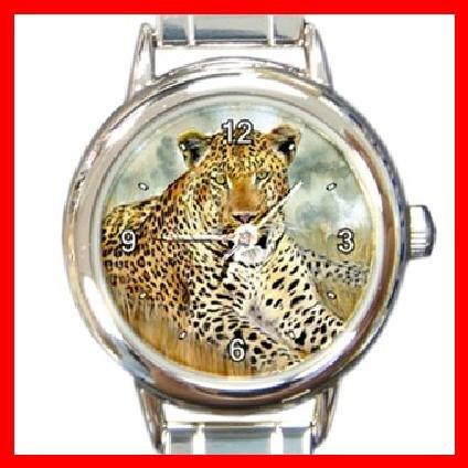 Wild Leopard Animal Round Italian Charm Wrist Watch 242