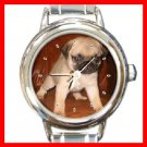 PUG Dog Pet Animal Round Italian Charm Wrist Watch 248
