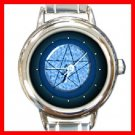 Blue Pentacle Round Italian Charm Wrist Watch 253