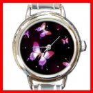 Pink Butterfly Fly Insect Round Italian Charm Wrist Watch 257