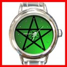 Green Pentacle Round Italian Charm Wrist Watch 259