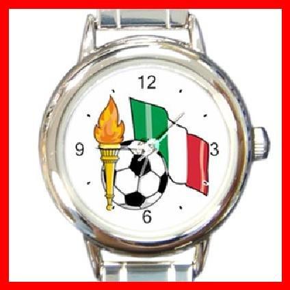 ITALY Flag Soccer Football Round Italian Charm Wrist Watch 266