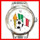 ITALY Flag Soccer Football Round Italian Charm Wrist Watch 266