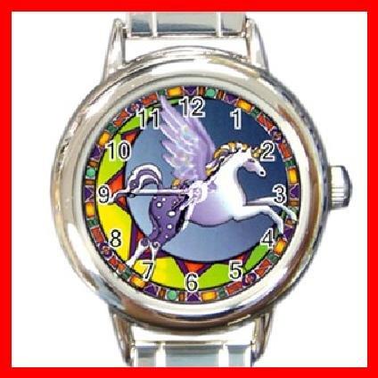 Unicorn Pegasus Myth Round Italian Charm Wrist Watch 267
