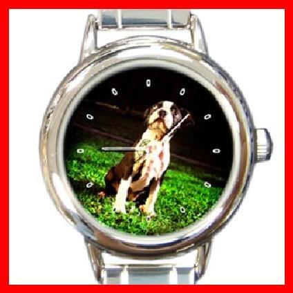 BOSTON TERRIER Dog Pet Animal Round Italian Charm Wrist Watch 271