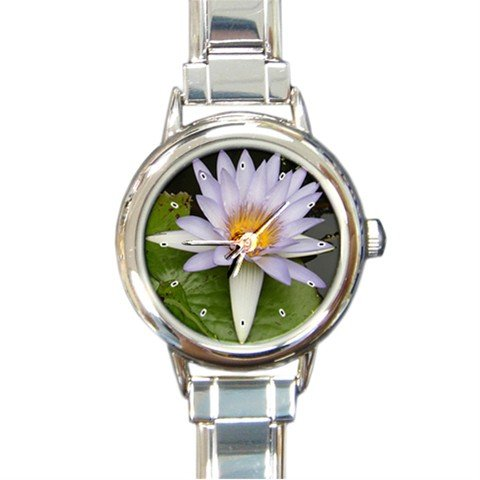 Purple Lily Flower Round Italian Charm Wrist Watch 273