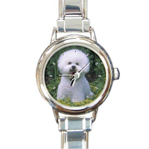 BICHON FRISE Dog Pet Animal Round Italian Charm Wrist Watch 274