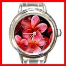 Pink Plumerias Frangipani Flower Round Italian Charm Wrist Watch 275