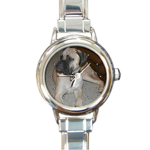 Bullmastiff Dog Pet Animal Round Italian Charm Wrist Watch 278