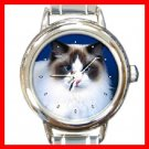 Cute Cat Kitty Pet Animal Round Italian Charm Wrist Watch 283