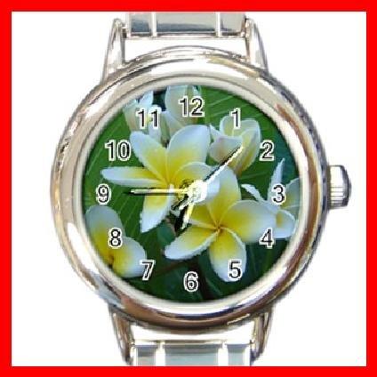 Frangipani Flower Summer Round Italian Charm Wrist Watch 288