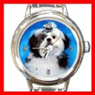Shih Tzu DOG Pet Animal Round Italian Charm Wrist Watch 291