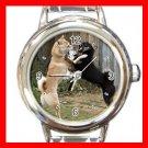 Shiba Inu Fighting DOG Pet Animal Round Italian Charm Wrist Watch 293