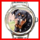 Rottweiler Puppy DOG Pet Animal Round Italian Charm Wrist Watch 307