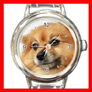 Pomeranian DOG Pet Animal Round Italian Charm Wrist Watch 315