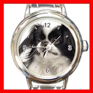 Japanese Chin DOG Pet Animal Round Italian Charm Wrist Watch 335