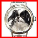 Japanese Chin DOG Pet Animal Round Italian Charm Wrist Watch 335