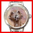 Italian Greyhound DOG Pet Animal Round Italian Charm Wrist Watch 338