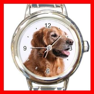 Golden Retriever DOG Pet Animal Round Italian Charm Wrist Watch 346