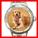 Golden Retriever DOG Pet Animal Round Italian Charm Wrist Watch 348