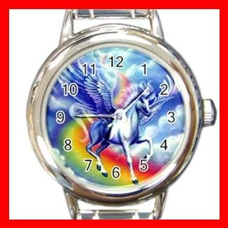Flying Unicorn Myth Rainbow Round Italian Charm Wrist Watch 355