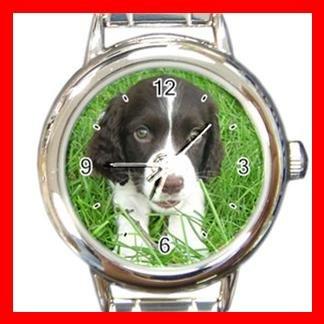 English Spring Spaniel Dog Pet Animal Round Italian Charm Wrist Watch 357