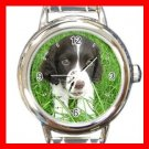 English Spring Spaniel Dog Pet Animal Round Italian Charm Wrist Watch 357