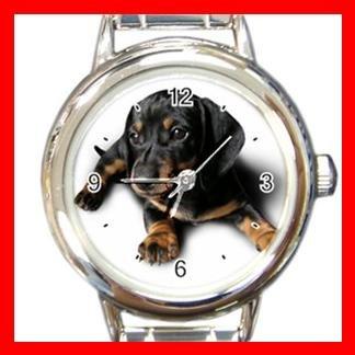 Dachshund Dog Pet Animal Round Italian Charm Wrist Watch 358