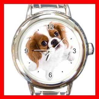 Cavalier King Charles Spaniel Dog Pet Animal Round Italian Charm Wrist Watch 361