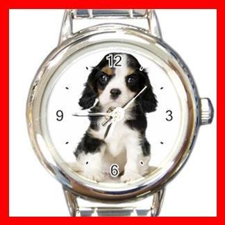 Cavalier King Charles Spaniel Dog Pet Animal Round Italian Charm Wrist Watch 362